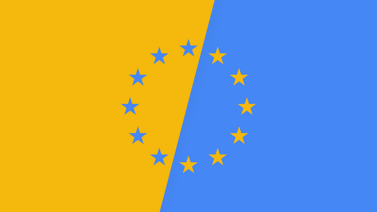 The Flag of the European Union set in Google AdSense's color scheme.