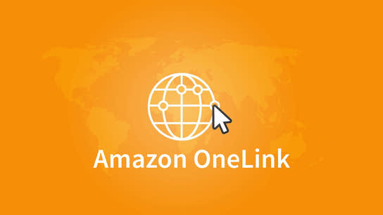 The Amazon OneLink logo with a faint world map in the background.