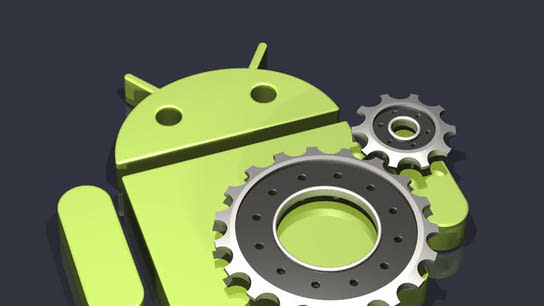 An Android robot-logo laying on its back with two connected gears on top of it.