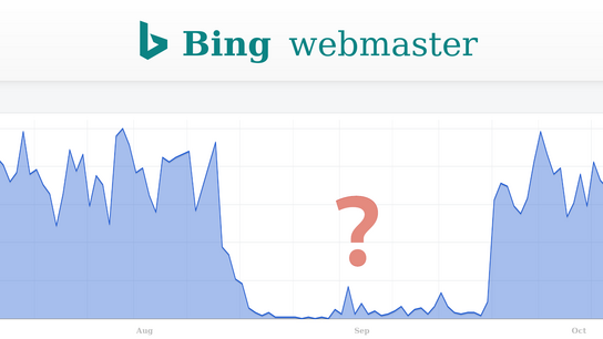 "A graph of search-engine traffic over time captioned ""Bing webmaster"". The month of September is shown with almost no traffic."
