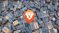 The Brave logo in front of a scattered letterpress set.