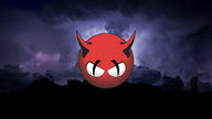 "The ClamAV ""red devil"" logo, with a dark and stormy sky in the background."