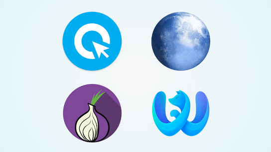 The icons of web browsers Cliqz, Pale Moon, Tor Browser, and Waterfox arranged in a grid.