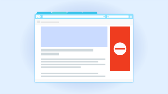 An illustration of a website with one area to the right of the main page content covered by a red square with a no-access sign.
