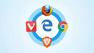 The icons of web browsers Mozilla Firefox, Google Chrome, Brave, and Vivaldi set in a circle around Microsoft Edge in the center.