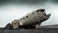 The wreak of an old airplane crash.