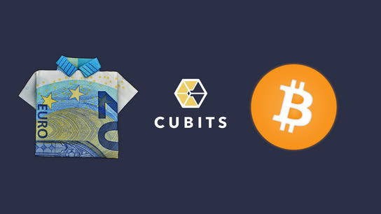The Cubits logo surrounded by a 20 Euro bill folded into a shirt and the Bitcoin logo.