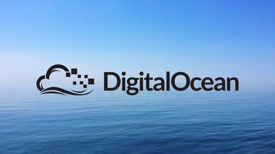 The DigitalOcean logo hovering over a large body of water.