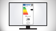 An electronic display with an EU Energy-Efficiency label in the middle of the screen.