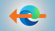 The Microsoft Edge icon overlaid by a large orange arrow pointing leftward.
