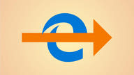 The Microsoft Edge icon overlaid by a large orange arrow pointing rightwards.