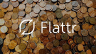 The Flattr logo in front of a pile of coins.