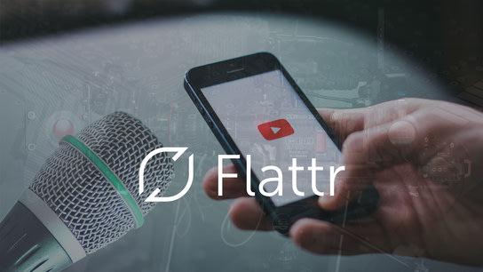 The Flattr logo with a phone with the YouTube logo, and a microphone in the background.