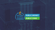 "The text ""Public Money; Public Code"" next to a public building built of code with money circling around it."
