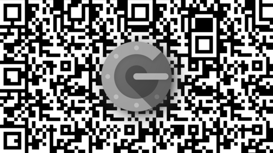 The Google Authenticator app icon in front of an abstract QR matrix barcode-inspired background.