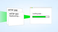 "An illustration of a loading webpage receiving a bundle of two documents. The top document is titled ""HTTP 301 Redirecting"" and the one behind titled ""HTTP 200""."