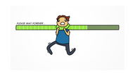 "A cartoon character fighting back against being strangled by a progress bar labeled ""Please wait forever…""."