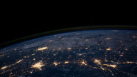 The ligth from cities on Earth seen from space.