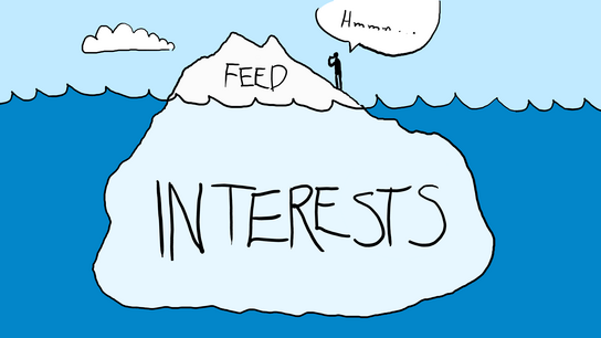 "A cartoon man saying ""Hmmm…"" while standing atop an iceberg floating in a blue sea. The small chunk of the iceberg poking up through the water is labeled ""feed"" and the huge part underneath is labeled ""interests""."