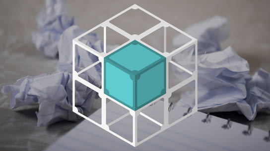 Crumbled papers behind the IPFS cube logo. The logo is surrounded by wireframe copies of itself.