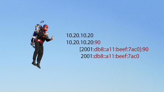 A man riding a jetpack. Next to him are four INetSocketAddresses being cut off at the first colon character. The two IPv4 addresses correctly split the address and port. The two IPv6 addresses are cut off at the first address segment; leaving two partial and broken addresses.