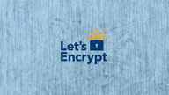 The Let's encrypt logo against a blue background.