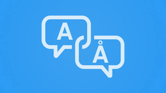 "Two speech-bubbles next to each other. One contains an ""A"" character and the other a ""Å"" (a-ring) character."
