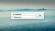 A login form with a user name and password field floating in front of a mountain range.