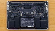 The internals of an MacBook Pro Retina without the backplate.