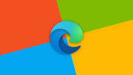 The Microsoft Edge logo set in front of a rotated Microsoft-color palette.