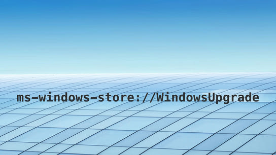 "The text ""ms-windows-store://WindowsUpgrade"" against a blue background feature a grid of windows."