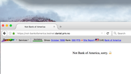 "The Netcraft browser extension toolbar showing the rating and security information for ""BankOfAmerica.com"" but the browser has loaded ""Not-BankOfAmerica.testnet.daniel.priv.no"" instead."