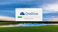 A dialog window showing the installation setup progress of Microsoft OneDrive.