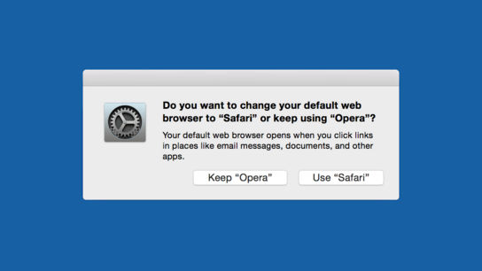 "A screenshot of a dialog asking ""Do you want to change your web browser to 'Safari' or keep using 'Opera'?"""