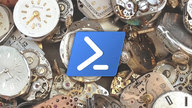 The PowerShell icon floating in front of a pile of broken clockfaces.