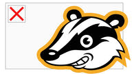 The Privacy Badger extension logo in front of a website image-frame that has failed to load the image.