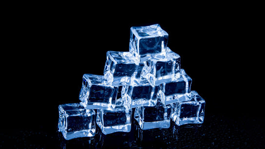 Stacked ice cubes forming a pyramid.