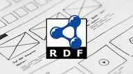 The RDF logo in front of a unspecific wireframe drawing.