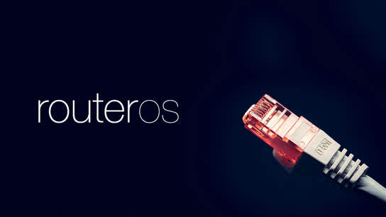 The RouterOS logo with an Ethernet cable connector glowing red in the background.