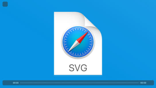 The Safari HTML media player with the icons missing from the user interface. The video playback shows an SVG file icon.
