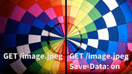 "A photo of a colorful hot-air balloon cut in two down the middle. One side shows a high-quality image labeled ""GET /image.jpeg"". The other side shows a lower-quality version labeled ""GET /image.jpeg. Save-Data: On."""