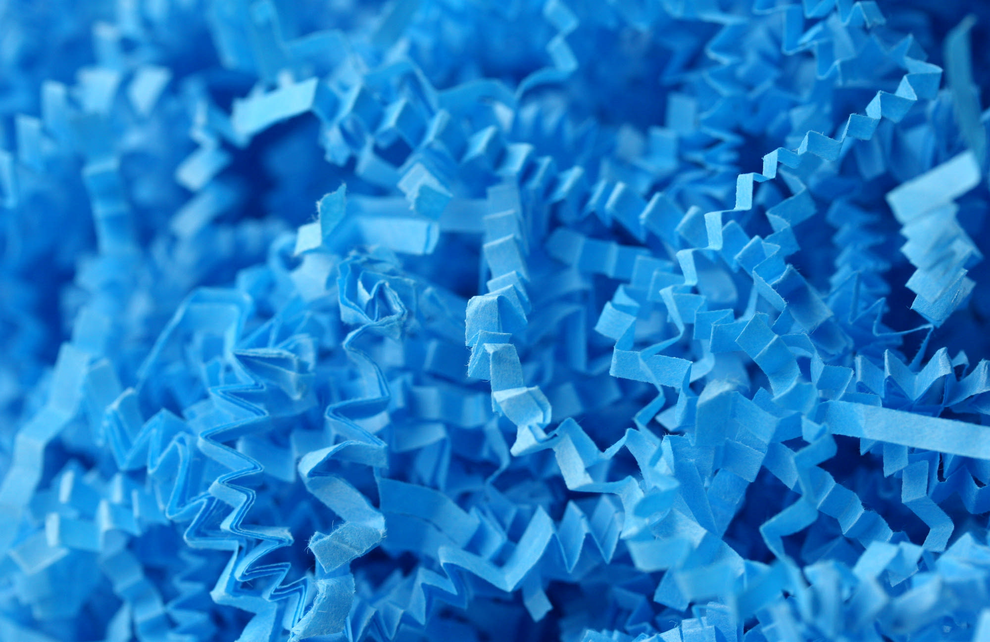 Blue – Shredded blue paper.