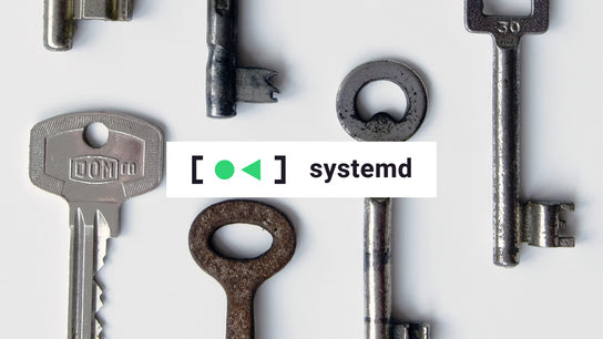 The systemd logo in front of some keys.