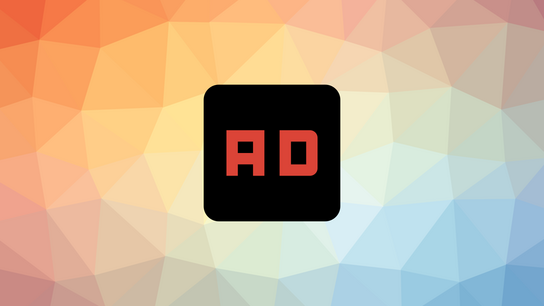 "A black box labeled ""Ad"" with differently colored triangles in the background."