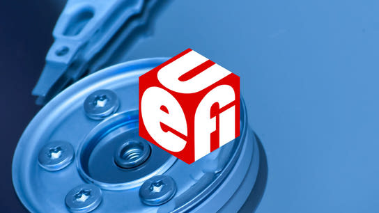 The UEFI logo against a close-up of a hard drive's internals.