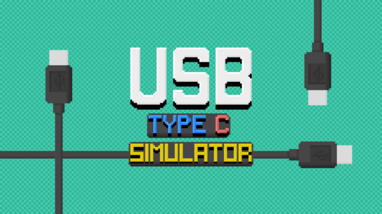 The USB Type-C Simulator app logo in front with two reversible USB Type-C cables crossing each other in the background.