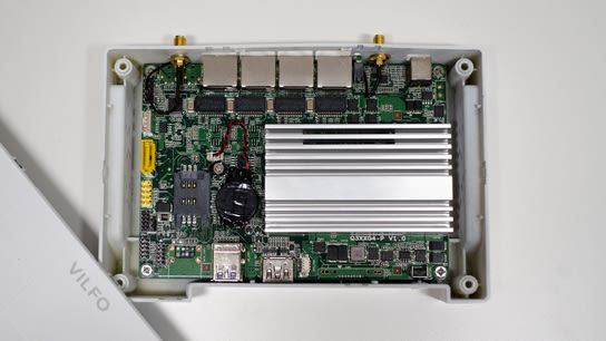 The internal mainboard and components of the Vilfo VPN router.