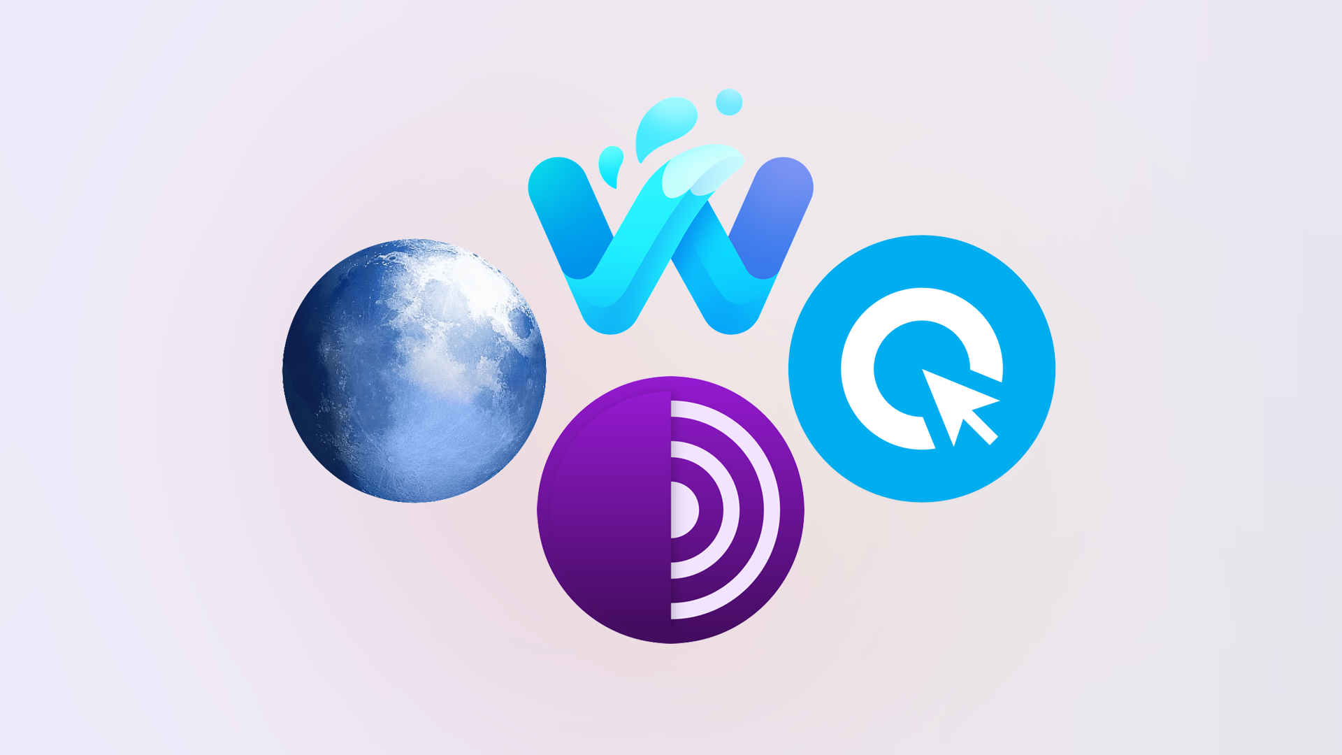 Waterfox, Cliqz, Tor Browser, and Pale Moon logos