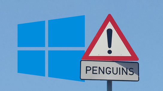 "A clear sky with the Windows logo partially covered by a warning sign labeled ""Penguins!"""