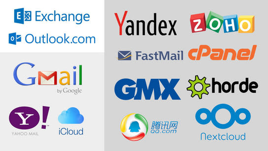 Three distinct areas each featuring a set of logos. The first and smallest set shows Microsoft Outlook.com and Microsoft Exchange. The second set shows Google Mail, Yahoo! Mail, and Apple iCloud. The third and larges set shows Yandex, Zoho, FastMail, cPanel, GMX, Horde, QQ.com, and NextCloud.